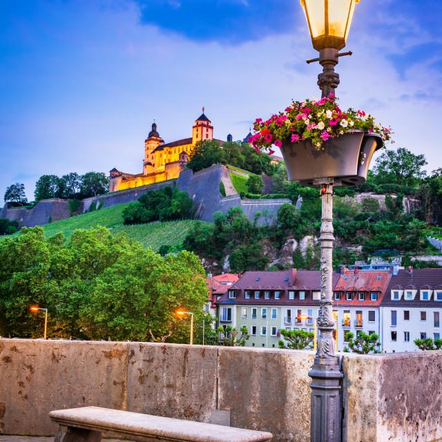 """Wurzburg, Germany. Alte Mainbrucke and Marienberg Fortress, twilight"" stock image"