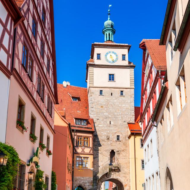 """Rothenburg ob der Tauber - Weiser Tower, Bavaria, Germany"" stock image"