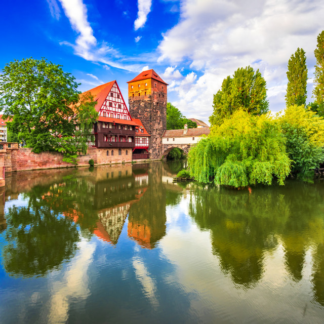 """Nuremberg, Germany - Picturesque Pegnitz River, Bavaria."" stock image"