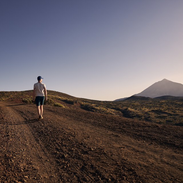 """""""Rear view of man in beautiful volcanic landscape"""" stock image"""