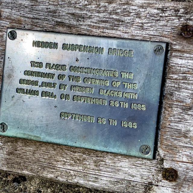 """Hebden Suspension Bridge. Plaque."" stock image"