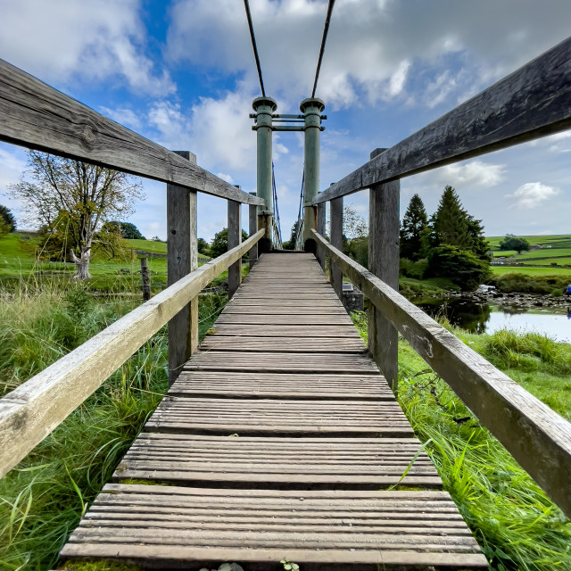 """Hebden Suspension Bridge."" stock image"