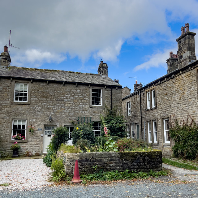 """""""Hebden, stone built cottages"""" stock image"""