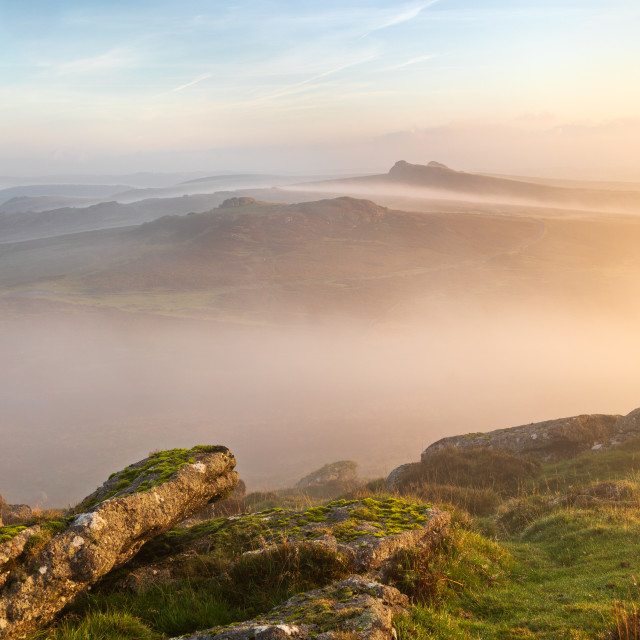 """Hay Tor Misty Morning"" stock image"