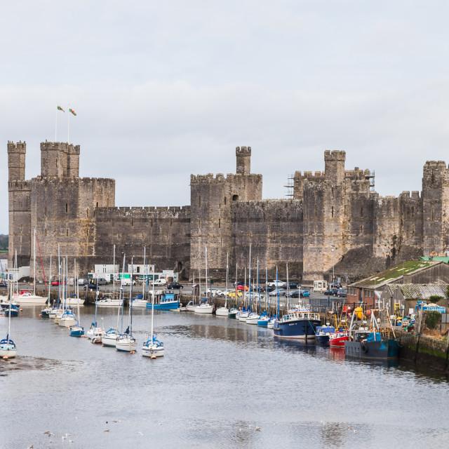 """Caernarfon waterfront and castle"" stock image"