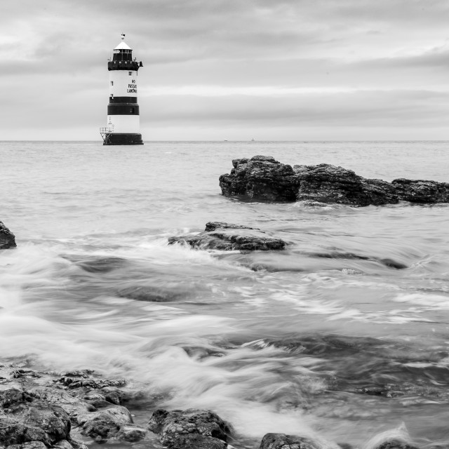 """""""Penmon Lighthouse in black and white"""" stock image"""