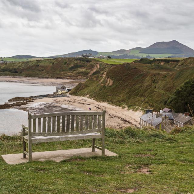 """Bench overlooking Porthdinllaen"" stock image"