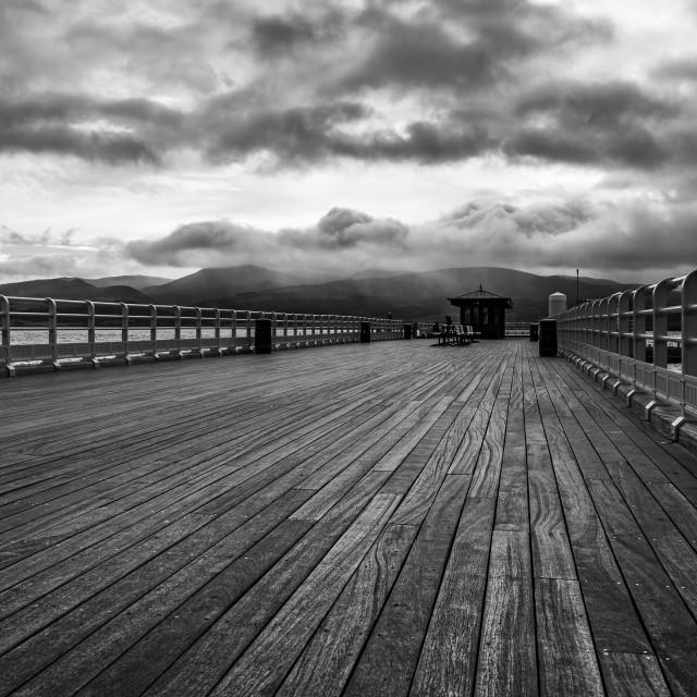 """Beaumaris Pier in monochrome"" stock image"