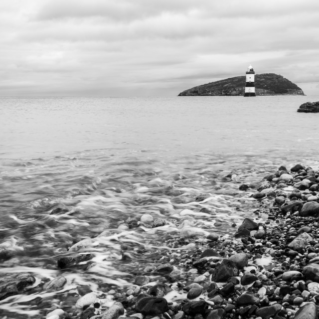 """""""Penmon point in black and white"""" stock image"""