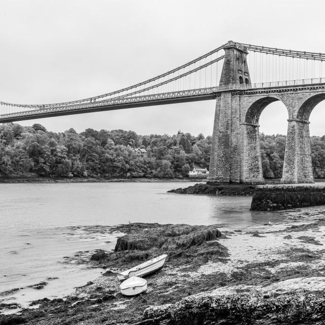 """Menai Bridge in black and white"" stock image"