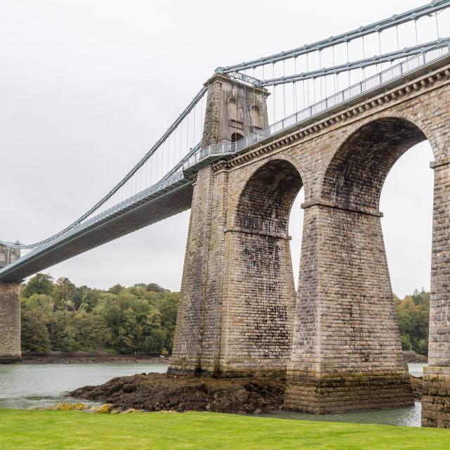 """""""Menai Suspension Bridge"""" stock image"""