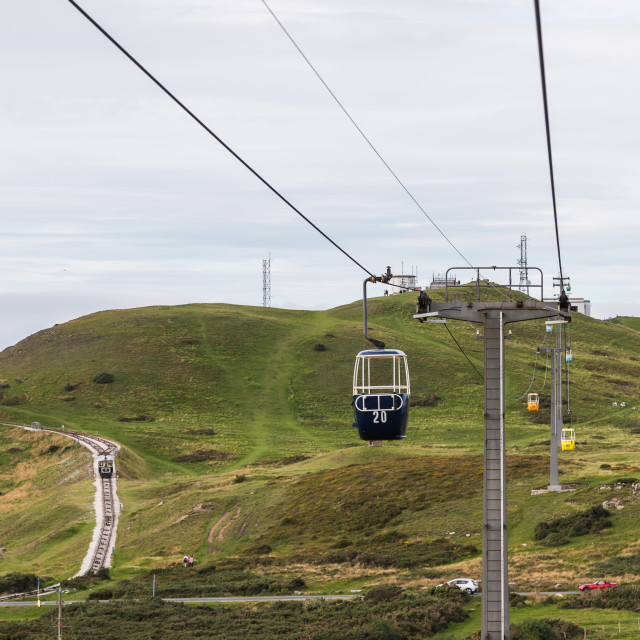 """""""Cable cars on the Great Orme"""" stock image"""