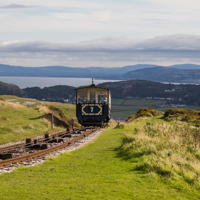 """""""Great Orme tram departing the peak"""" stock image"""
