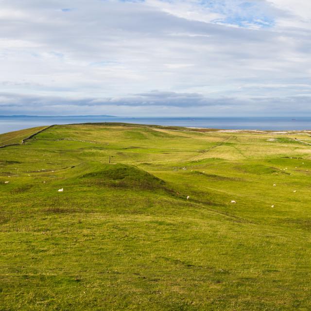 """Great Orme peak panorama"" stock image"