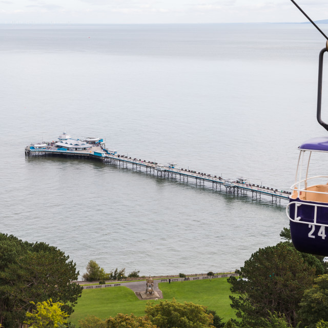 """""""Cable car going up the Great Orme"""" stock image"""