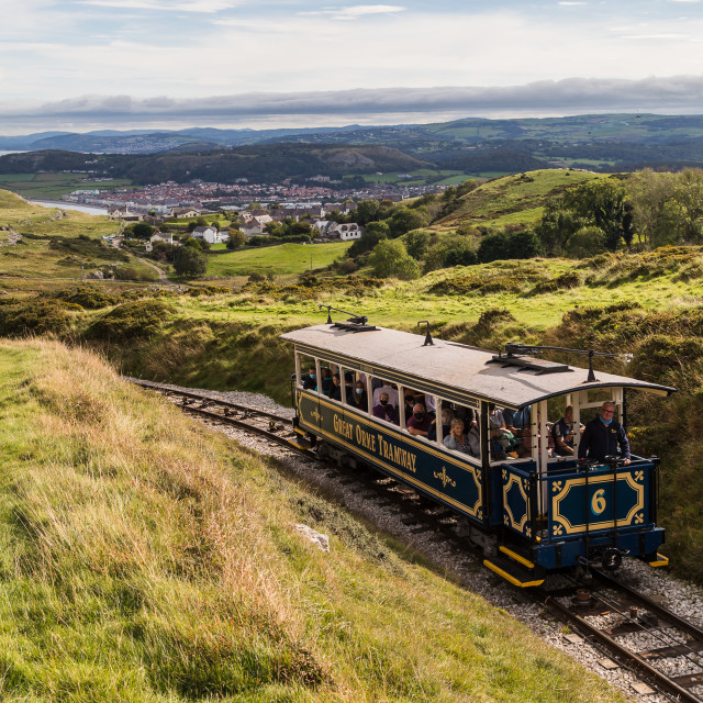 """""""Great Orme tram going up to the summit"""" stock image"""