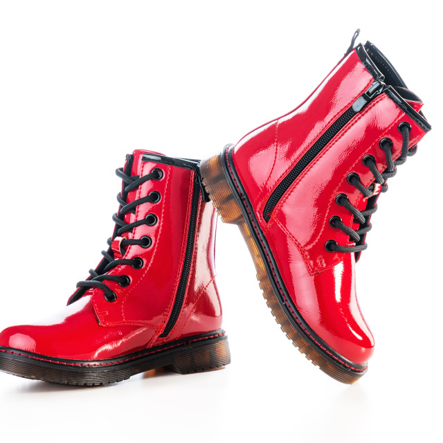 """""""Shiny leather shoes. Shining boots isolated."""" stock image"""