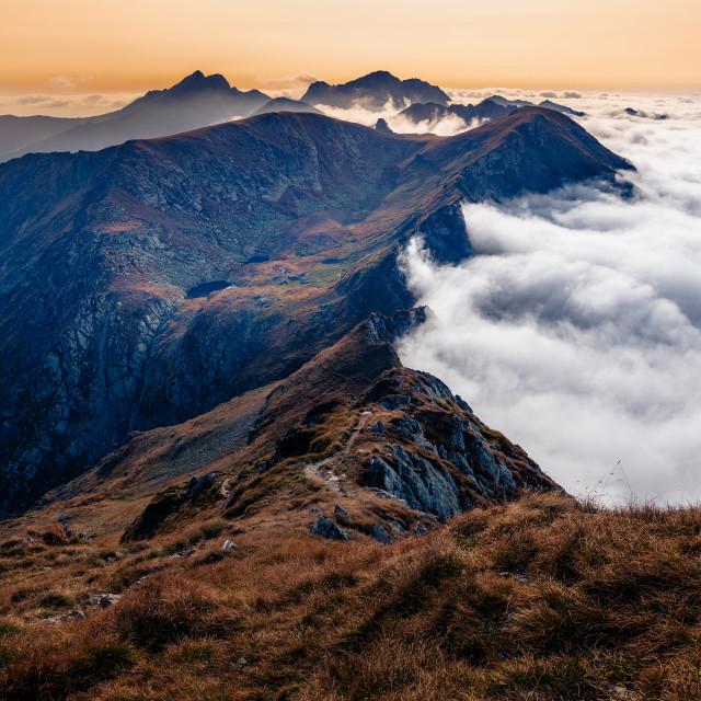 """""""Sunset in Făgăraș Mountains"""" stock image"""