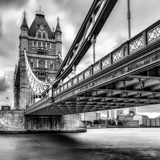 """Tower Bridge, long exposure in Black and White. London UK."" stock image"