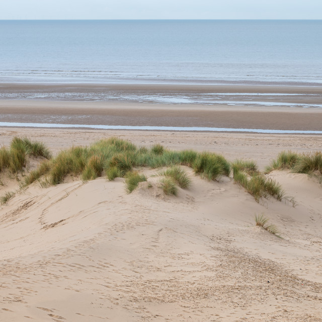 """""""Formby beach over a sand dune"""" stock image"""