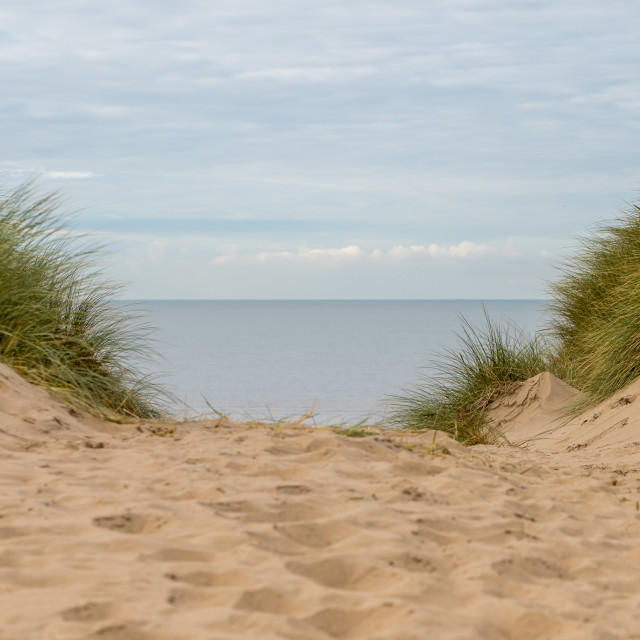 """""""Irish Sea from the top of a sand dune"""" stock image"""
