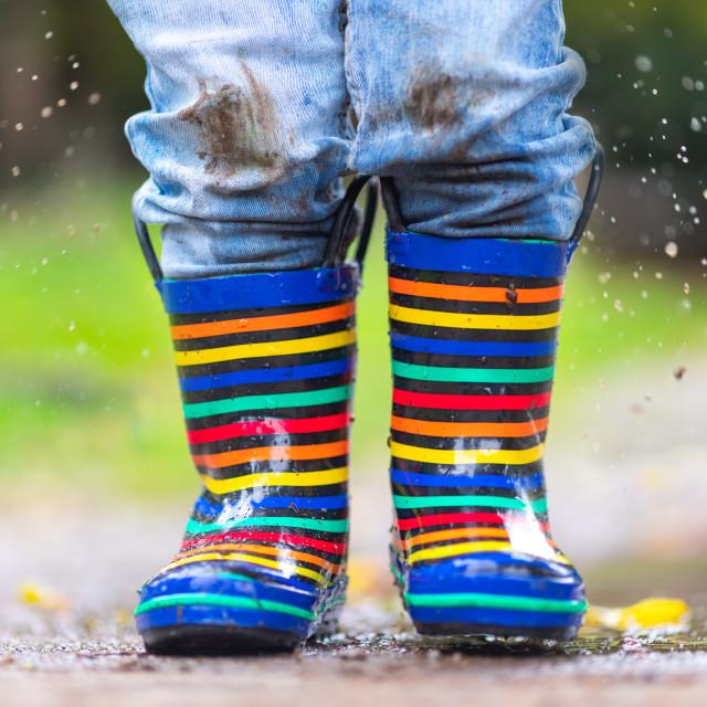 """Happy little kid boy jumping on rainy puddle in autumn on nature"" stock image"
