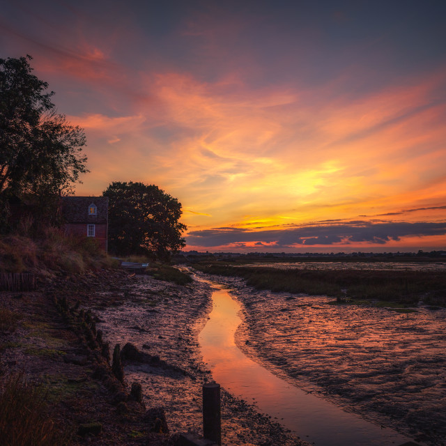 """Landermere Quay Essex Sunset"" stock image"