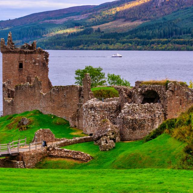 """Urquhart Castle - Fall on Loch Ness"" stock image"
