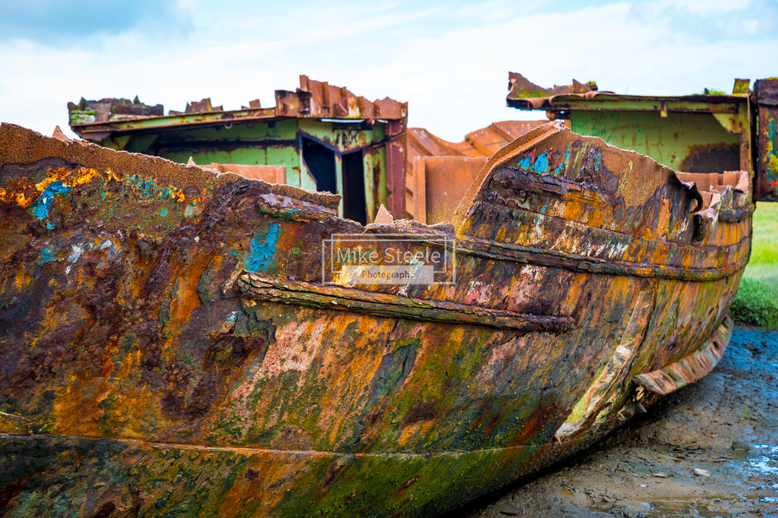 """Abandoned Fishing Boat off Fleetwood"" stock image"