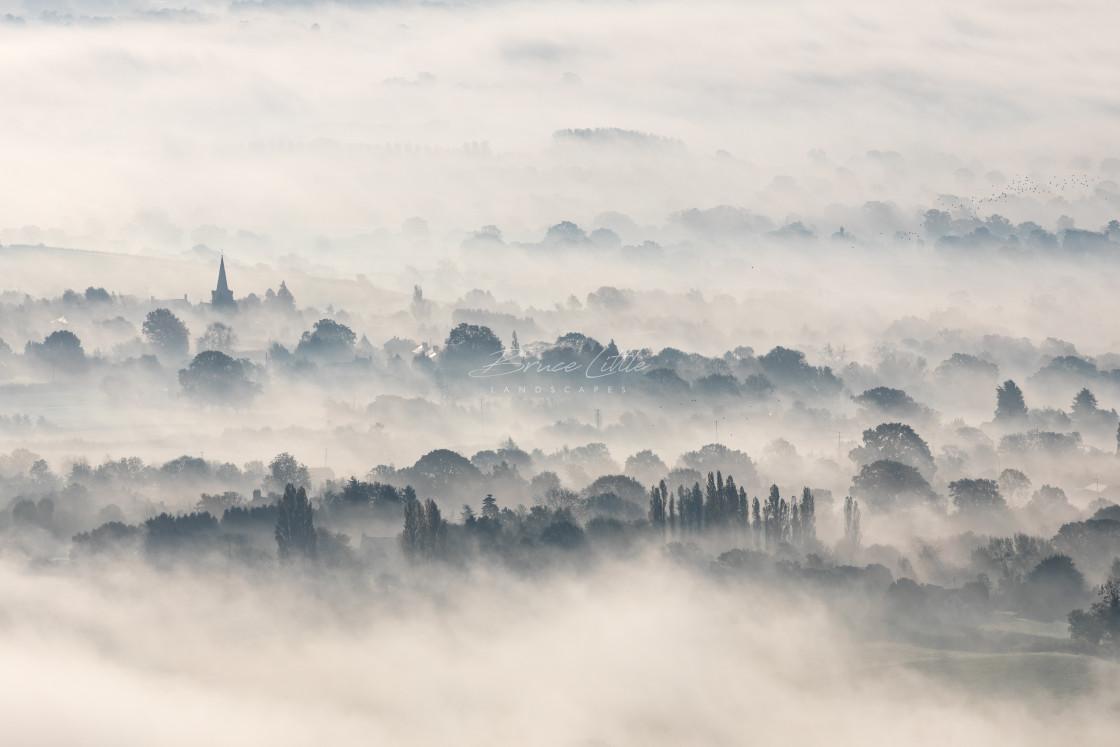 """""""Foggy Castlemorton"""" stock image"""