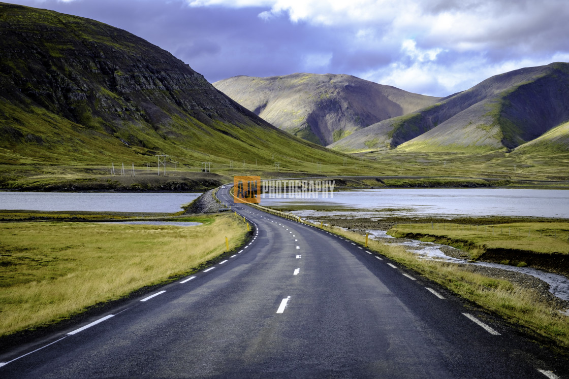 """Road through the Icelandic landscape"" stock image"