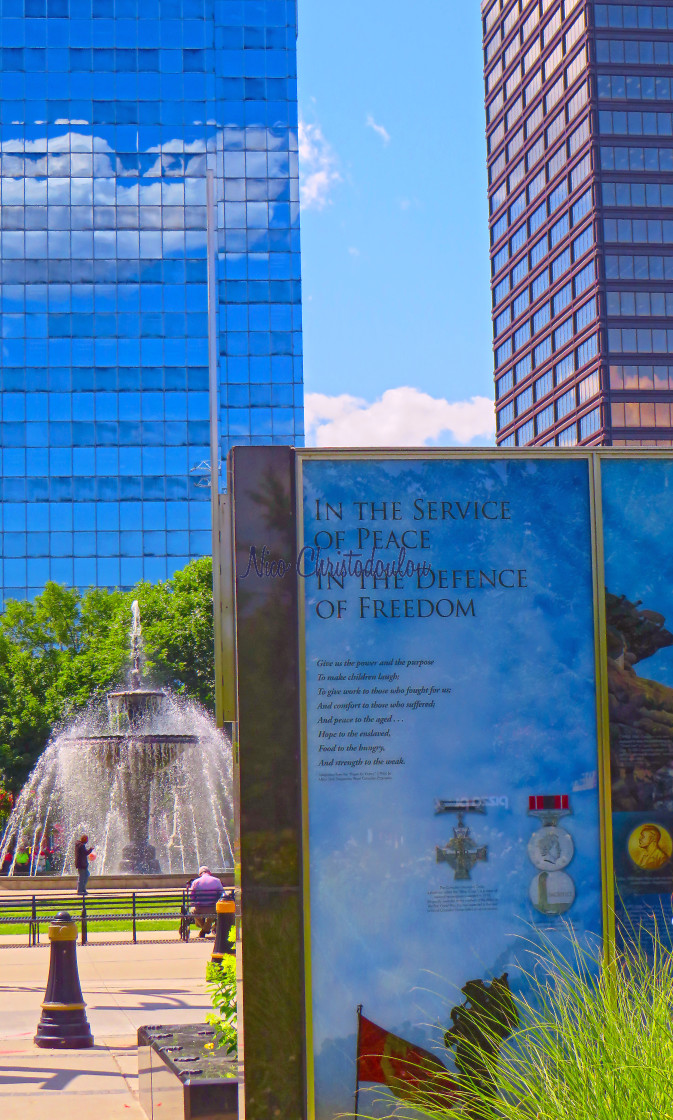 """""""Veteran's Place by Gore Park."""" stock image"""