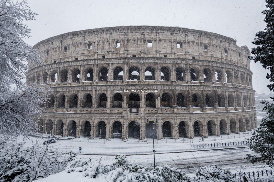 """""""Colosseo Rome under snow"""" stock image"""