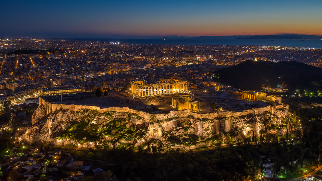 """Parthenon of Athens at night"" stock image"
