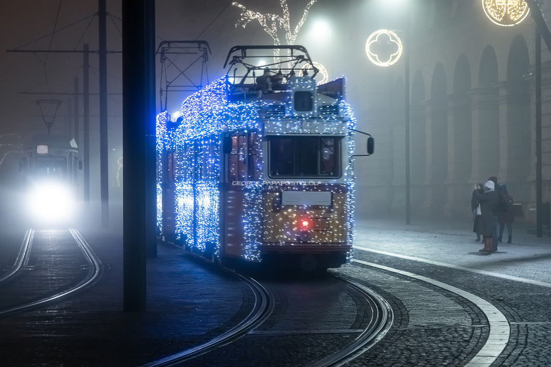 """Christmas tram in Budapest"" stock image"