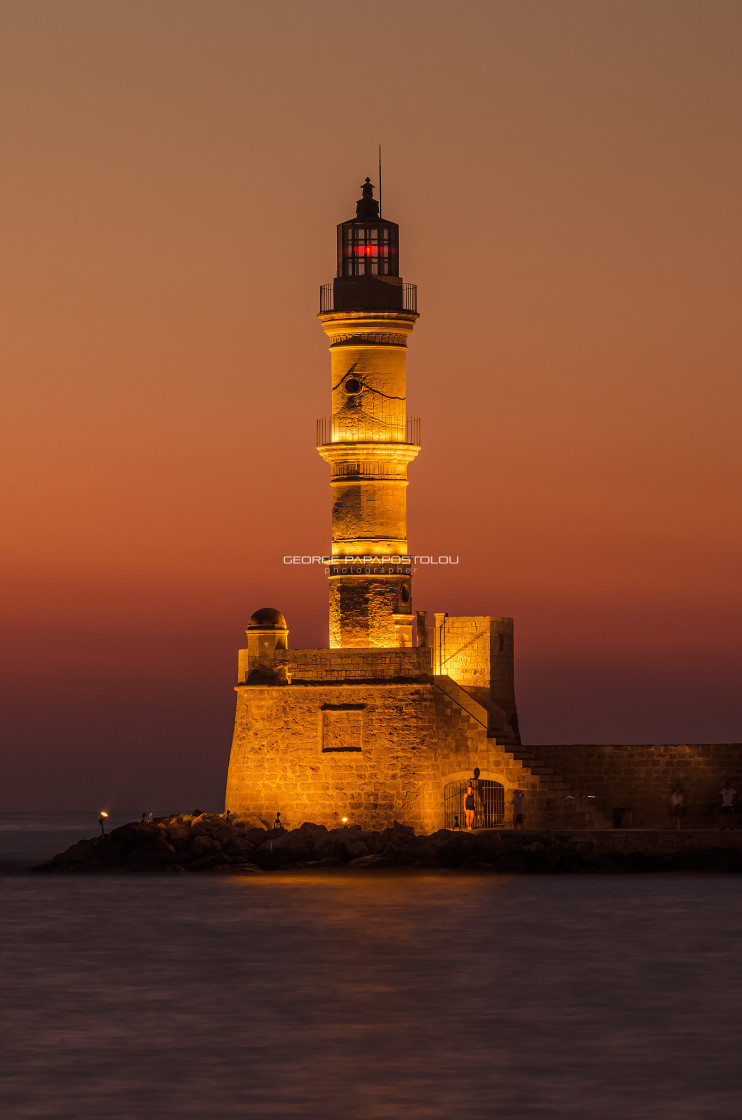 """Lighthouse in old port at Chania"" stock image"