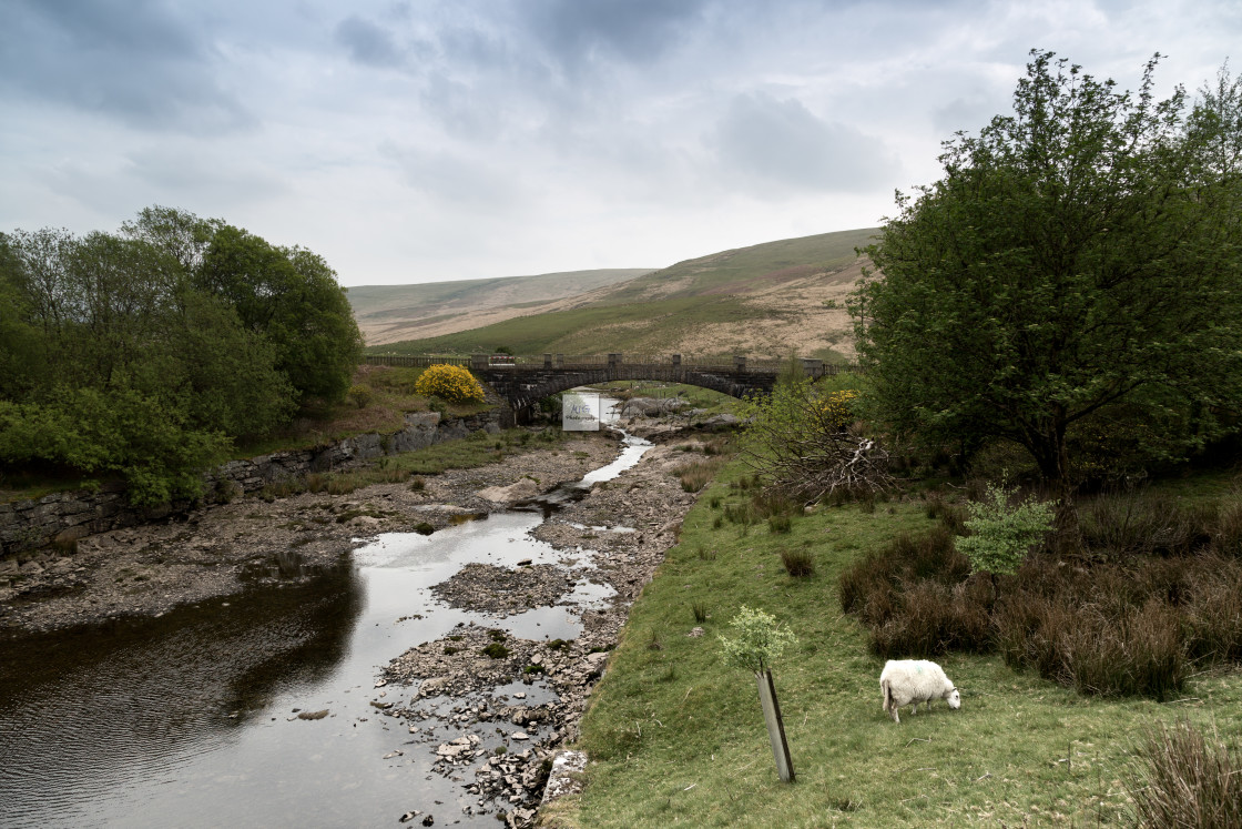 """Afon Claerwen with Bridge. Welsh countryside."" stock image"