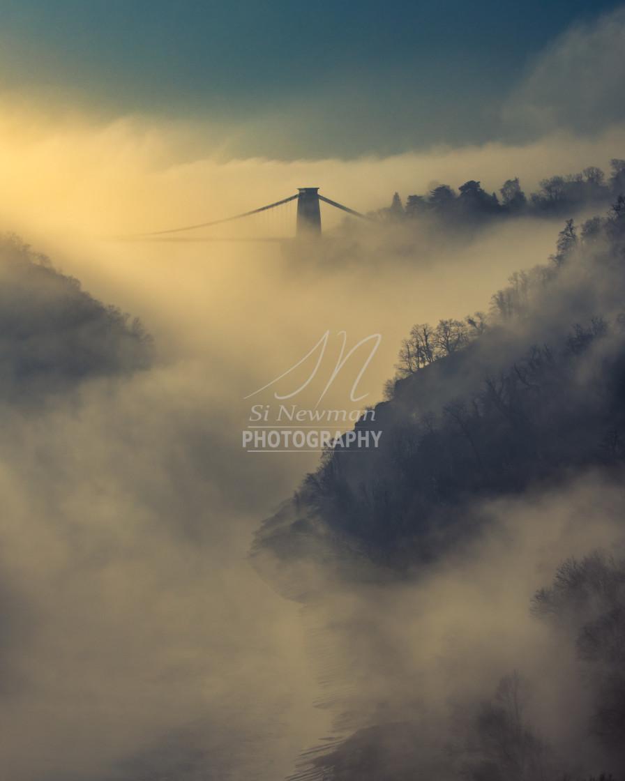 """Bridge in the Mist"" stock image"