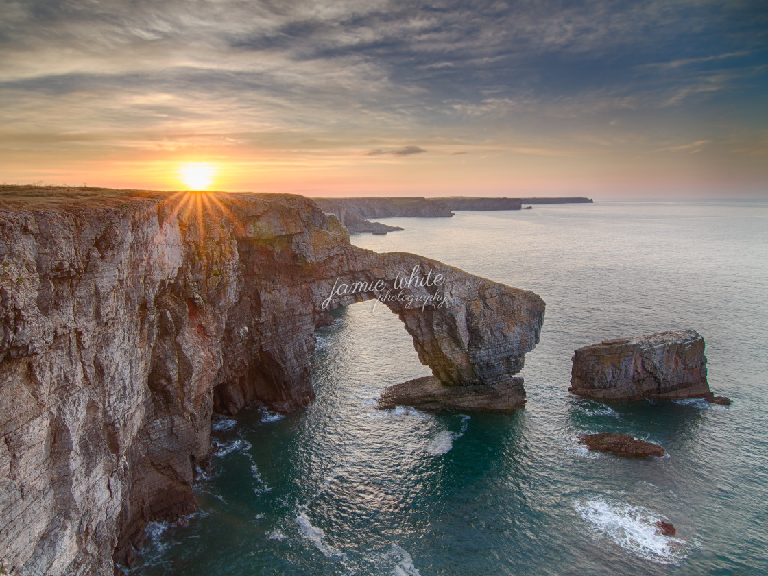 """The Green Bridge of Wales"" stock image"