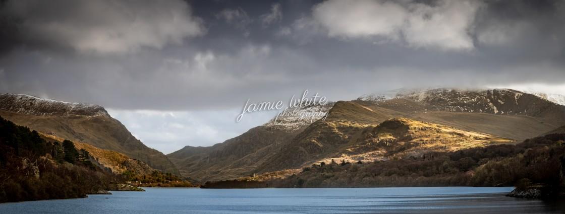"""""""Llanberis Pass from Llyn Peris"""" stock image"""