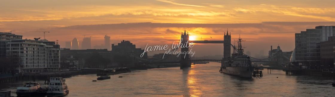 """Tower Bridge sunrise"" stock image"