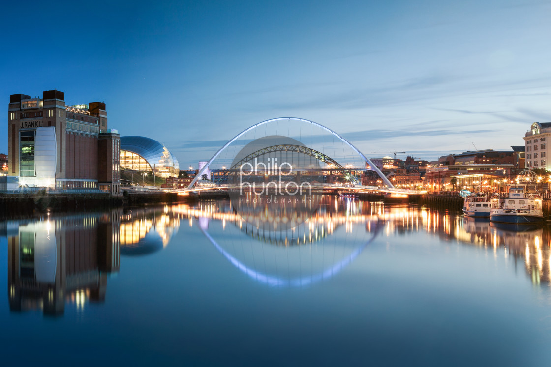 """""""Newcastle and Gateshead Quayside on a clear night"""" stock image"""