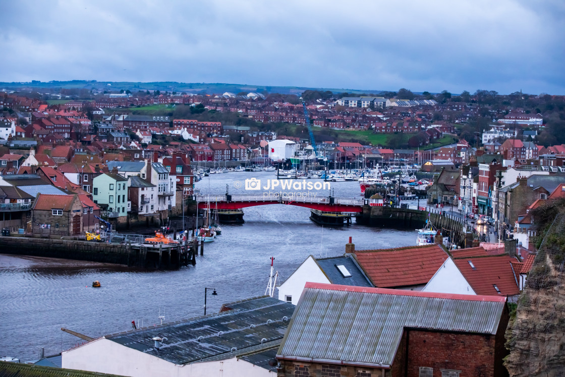 """Whitby Harbour early Morning"" stock image"