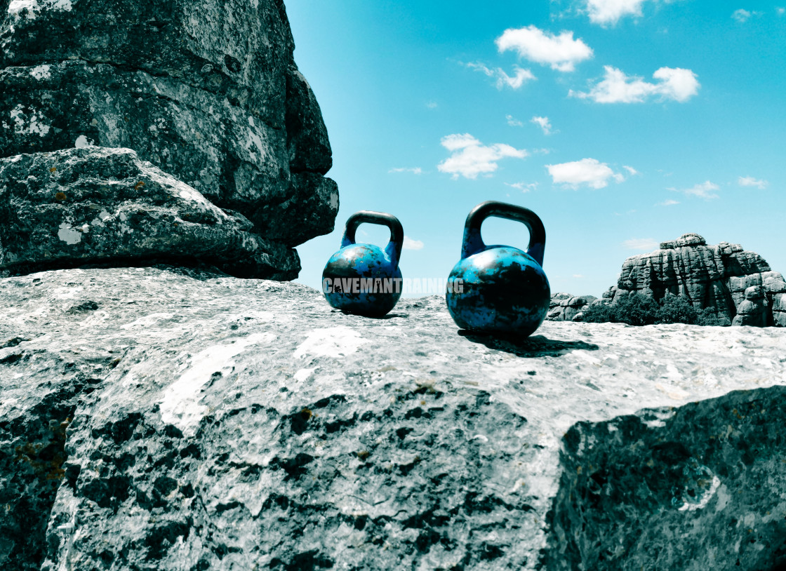 """Two Kettlebells On Top Of A Mountain"" stock image"