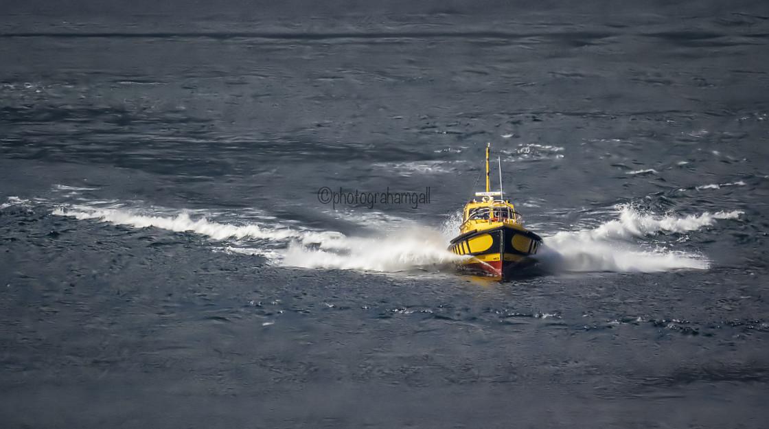 """Pilot Boat - Milford Sound"" stock image"