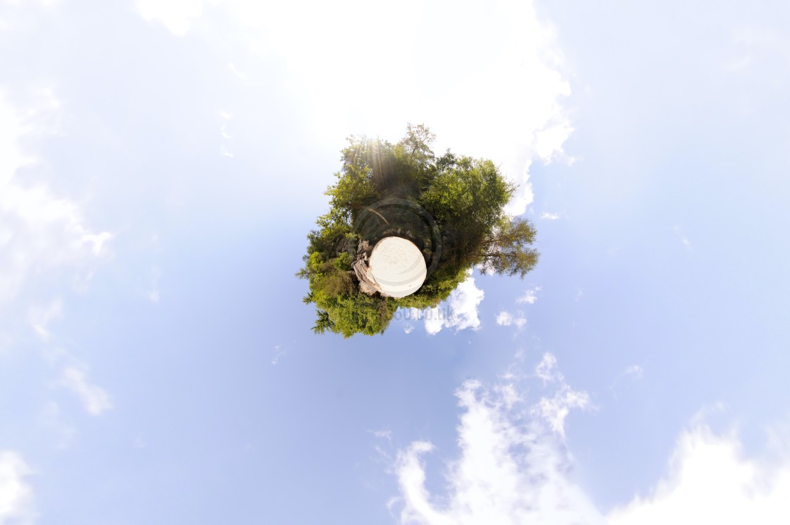 """""""Beach in forest (little planet)"""" stock image"""