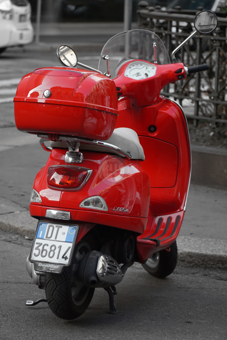 """Red scooter, Milan"" stock image"