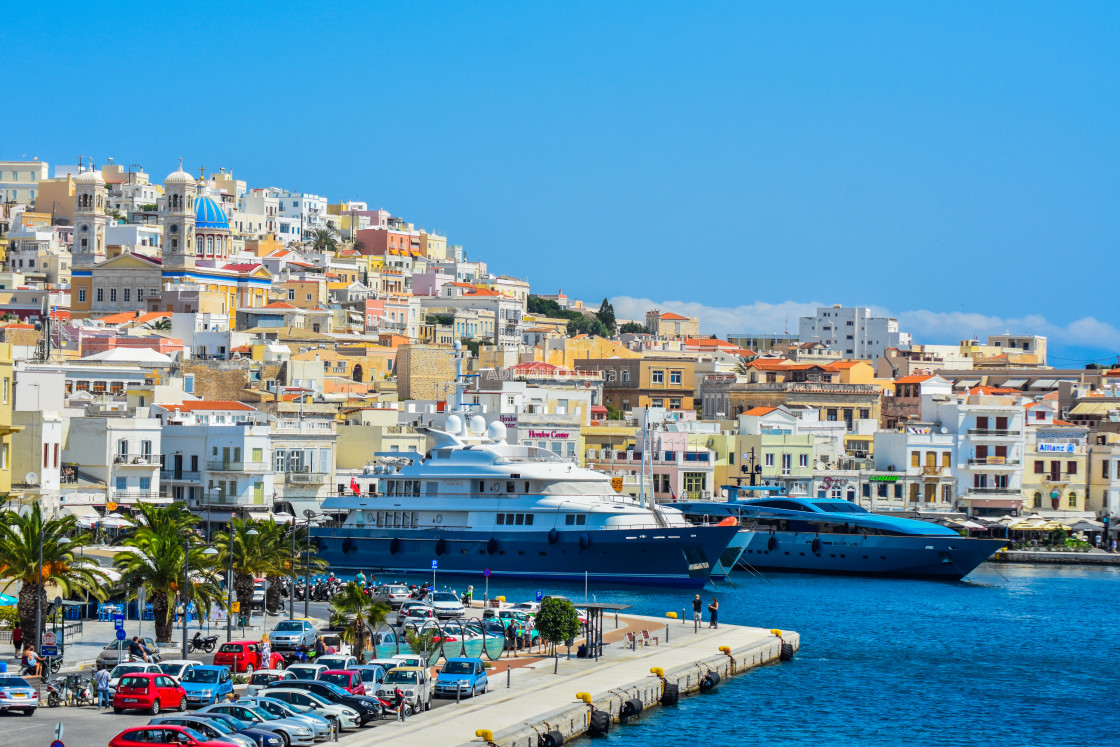 """The port of Syros, Greece"" stock image"