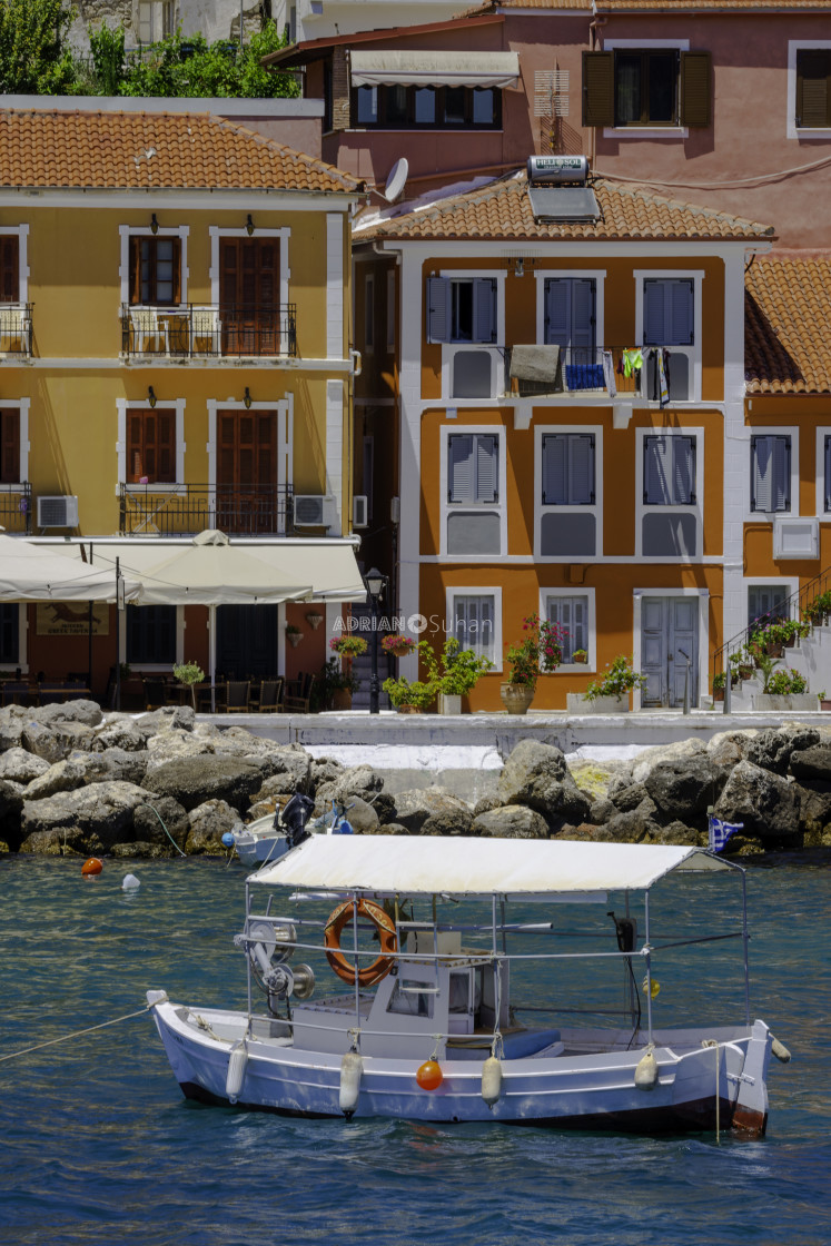 """Boat in the port of Parga"" stock image"