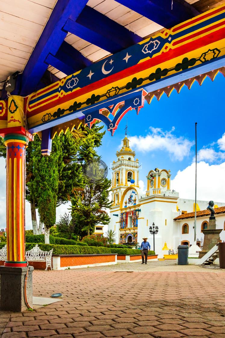 """Chignahuapan Moorish Kiosk and Santiago Apostol Temple"" stock image"